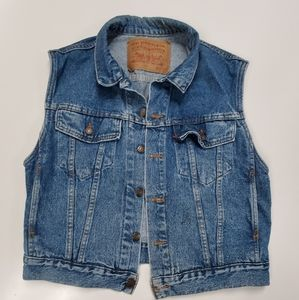 Vintage Levi Denim Vest Jacket Sleeveless Medium